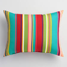 Striped Coastal Blossom Outdoor Lumbar Pillow