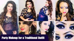 party makeup look for indian wear l blue smokey eye l affordable base l makeup gyan