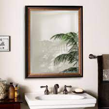 Deco Mirror 26 In W X 32 In H Framed Rectangular Beveled Edge Bathroom Vanity Mirror In Oil Rubbed Bronze 8923 The Home Depot