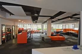 creative office decorating ideas. Office:Fashionable Office Space Design With Orange Bar And Dark Grey Pattern Floor Comfy Creative Decorating Ideas