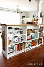 diy bookcase kitchen island.  Diy Ikea Hack Billy Bookshelves Kitchen Island Storage With Butcher Block And  Bead Boardwwwgoldenboysandmecom To Diy Bookcase H
