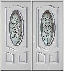 3 4 oval fiberglass prehung double door