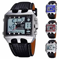 details about men s leather quartz wrist watch digital og military alarm sport waterproof