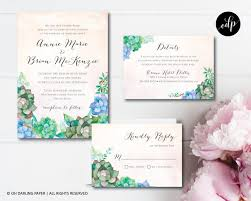 Printable Wedding Invitation Succulent Invitation