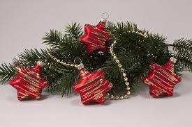 4 Sterne Rot Matt Gold Geringelt Weihnachtskugeln Aus Lauscha