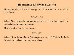 radioactive decay and growth the decay of a radioactive isotope is a first order reaction