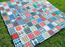 blue patchwork quilt simple recycled denim quilts