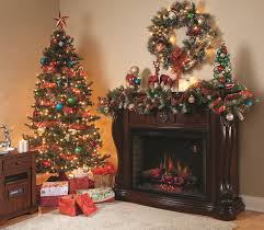 interior dark brown wooden mantel decorating ideas with wreath on the wall and garland