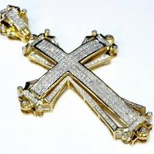 mens cross necklaces white gold photo 1