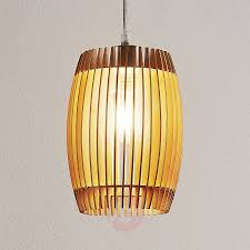 Jemile Hanging Lamp With Birch Wood Slats Lightsie