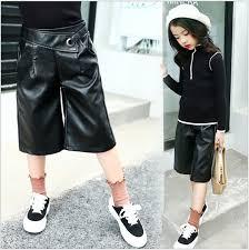 2017 autumn faux leather pants girls trousers teens clothes elastic waist pants