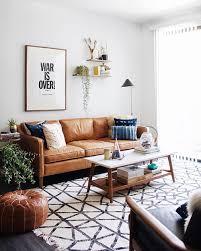 living room mid modern century brown leather sofa