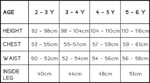 Child Size Chart Size Chart Otti