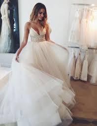 rhinestone wedding dress. Elegant Spaghetti Straps A line Rhinestone Wedding Dress Bride Gown