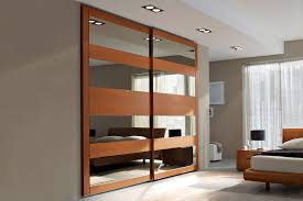 contemporary bedroom closet doors with mirror