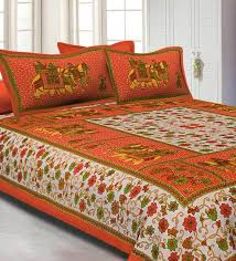 Sheet Online Orange Big Elephant Printed Cotton Double Bed Sheet With 2 Pillow Covers By Jaipur Fabric