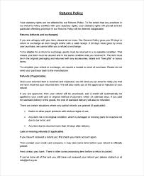 policy templates refunds policy template under fontanacountryinn com