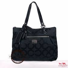 Coach Black Poppy Op Art Glam Sateen Tote Bag, Luxury, Bags ...