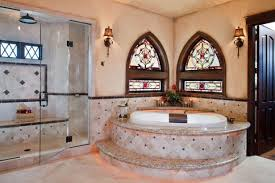 traditional bathroom with stained glass windows