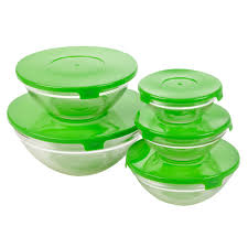 set of five glass storage serving mixing bowls containers with plastic lids new