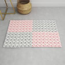 imperfect hearts checkerboard pattern red black white rug