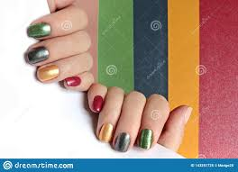 Red And Yellow Nail Designs Multi Colored Mother Of Pearl Manicure On Short Nails Nail