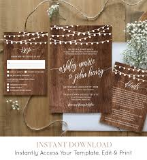String Of Lights Rustic Wedding Invitation Wedding Invitation Template Printable Rustic Wood String