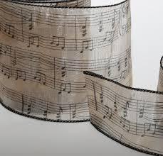 Organzaband Creme Mit Musiknoten B 125mm