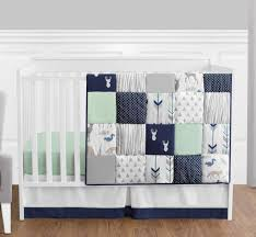 sweet jojo perless navy blue gray forest animal baby boy 4p crib bedding set