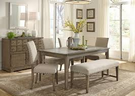 Rustic Casual 6 Piece Dining Table And Chairs Set With Bench By