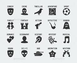 Film Genres Film Genres Vector Icon Set Film Genres Icon Set Mystery