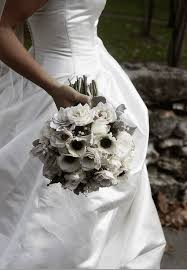 white bridal bouquets, classic and elegant Wedding Bouquets Black And White choose white flowers with black centers for formal weddings photo courtesy of blue bouquet www bluebouquet com black and white silk wedding bouquets