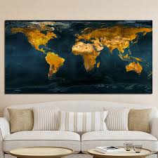 Abstract Vintage Gold Globe World Map Oil Painting Poster