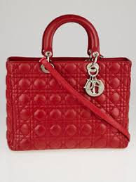 Christian Dior Red Cannage Quilted Lambskin Leather Large Lady ... & Image is loading Christian-Dior-Red-Cannage-Quilted-Lambskin-Leather-Large- Adamdwight.com