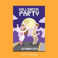 Free Vector | Kids in costumes <b>dancing halloween party</b> flyer template