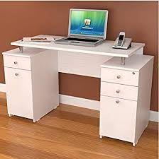 desk with locking file cabinet. Modern Elevated White Computer Writing Desk With Locking File Drawer And Cabinet