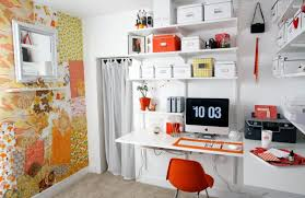 organizing your office. Wonderful Office Modern Orange And White Home Office With Creative Wallpaper Inside Organizing Your Office T