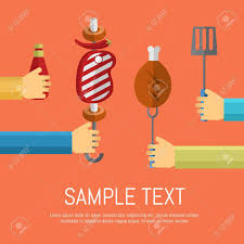 Bbq Poster Vector Illustrations Bbq Poster Hands On Different Sides Of