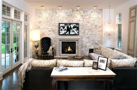 living room with tv over fireplace. Living Room Fireplace Tv Chic Corner Layout With Over