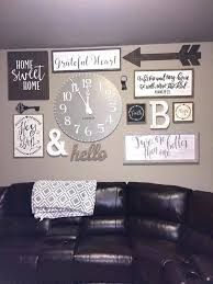 collage wall picture arrangements on wall with clock nice farmhouse living room wall decor and design