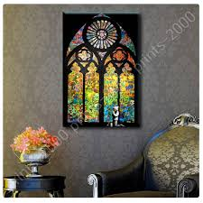 stained glass window church cathedral by banksy poster