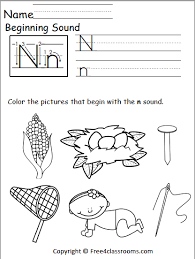Say a sound and children identify the correct letter(s) by circling/colouring. Free Beginning Sounds Worksheet Letter N Free4classrooms