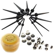 taper gauge kit. 22-pc-ear-stretching-black-taper-kit-w- taper gauge kit e
