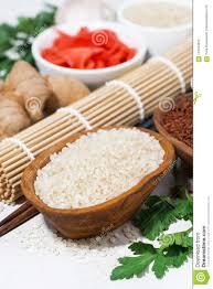Produkte Für Japanische Küche, Reis, Ingwer Und Gewürze, Draufsicht