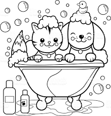Small Picture Dog And Cat Taking A Bath Coloring Page stock vector art 604333708