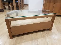 next glass top oak tv stand