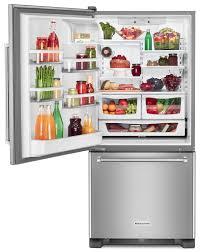 Stainless Steel Refridgerators Kitchenaid Stainless Steel Bottom Freezer Refrigerator 187 Cu