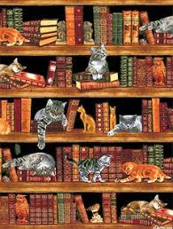 "International Stashes: Jamie's Bookcase Quilt - August. Best ... & Cats in the Library - 24"" x 44"" PANEL - Quilt Fabrics from www Adamdwight.com"