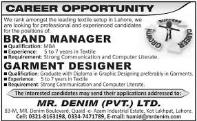 job opportunities for brand manager mba garment designer  job opportunities for brand manager mba garment designer graduate diploma in graphic