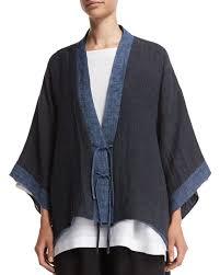 Eskandar Fashion Designer Eskandar Shanghai Two Tone Jacket Jean Mix Kimono Fashion